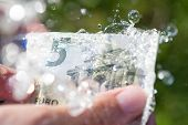 stock photo of depreciation  - Hands washing 5 euro banknote on water splash in green background - JPG