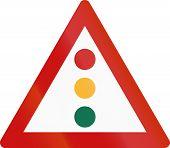 foto of traffic rules  - Greek sign warning about traffic lights  - JPG