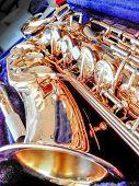 image of saxophones  - Key Golden Saxophone - JPG