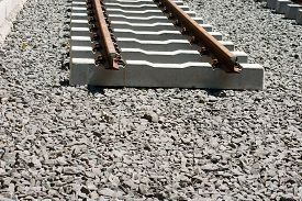 stock photo of tram  - The construction of a railway line for a tram with rails gravel and underlay sleepers - JPG