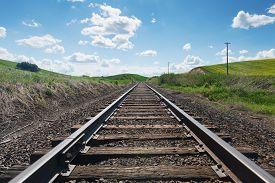stock photo of track field  - Railroad tracks through fields of canola Colfax Washington - JPG