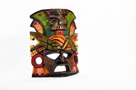 foto of anaconda  - Indian Mayan Aztec wooden mask with anaconda and jaguar isolated on white background - JPG