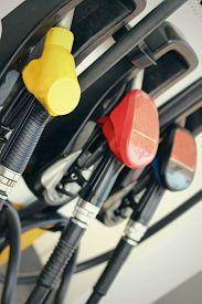 image of fuel pump  - Fuel pumps at gas station  - JPG