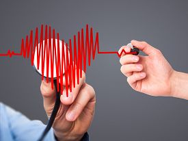 stock photo of beating-heart  - Closeup portrait doctor hand listening to heart beat in heart shape with stethoscope - JPG