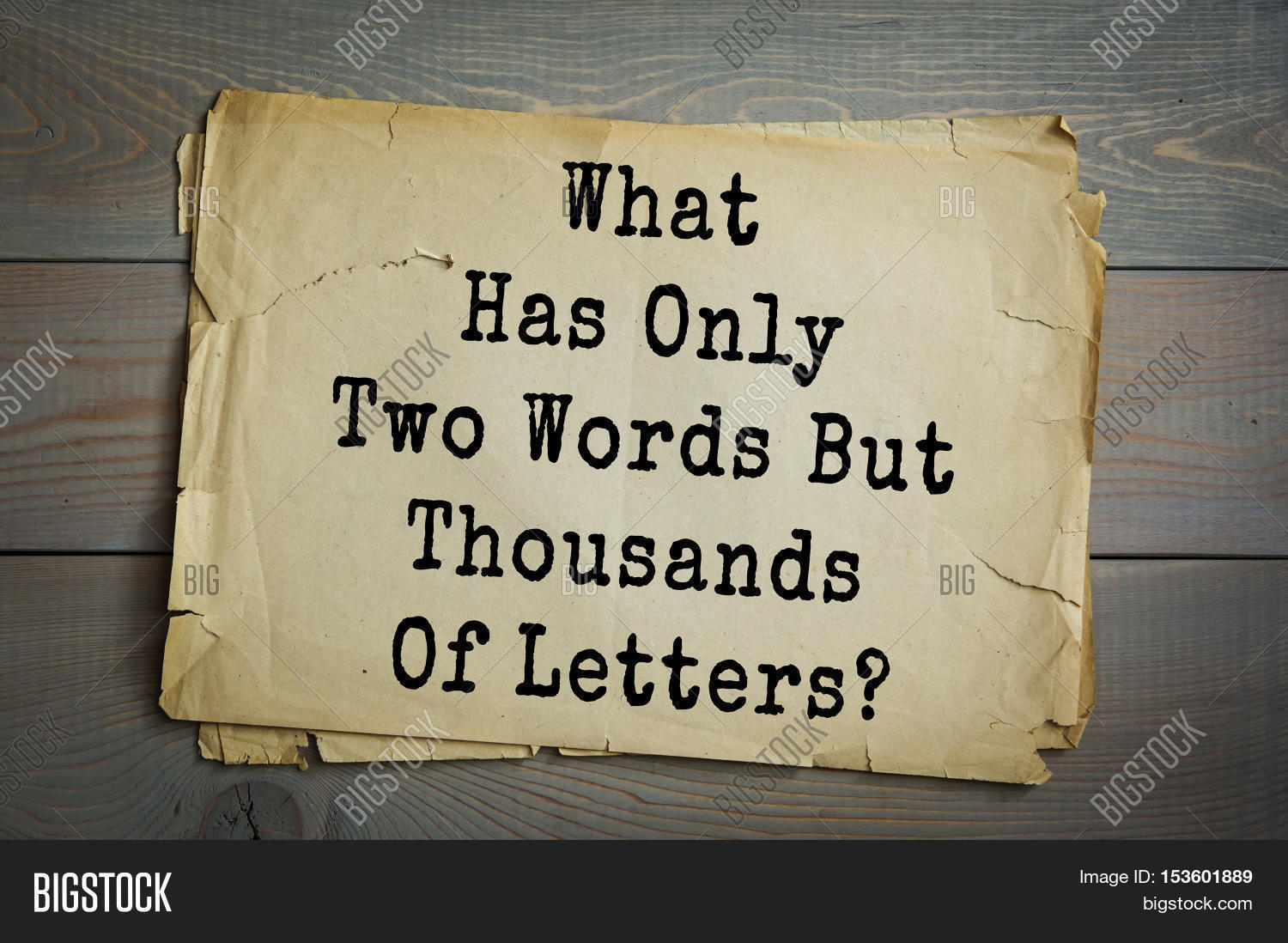 what has only two words but thousands of letters traditional riddle what has only image amp photo bigstock 25530 | 153601889