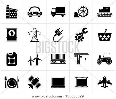 Black Business and industry icons - vector icon set