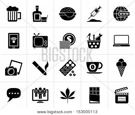 Black different types of Addictions icons - vector icon set