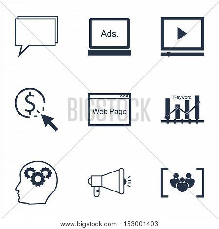Set Of Advertising Icons On Digital Media, Media Campaign And Questionnaire Topics. Editable Vector