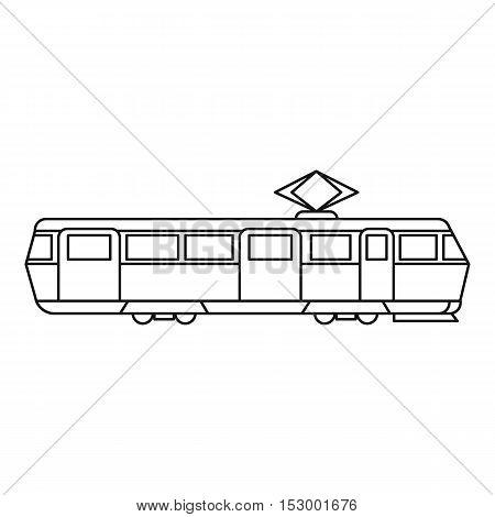 Tram icon. Outline illustration of tram vector icon for web design