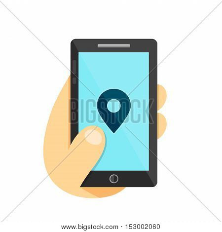 GPS location symbol. Map pointer Gps search city in smartphone concept. Phone in hand. Vector flat illustration icon. Isolated on white background