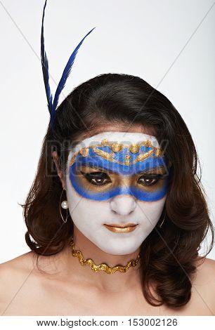 Women Look Down In Mask