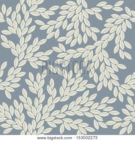 Stylish pattern with elegant leaves. Perfect tile background for handicraft, linen, cards,  folk art and more creative designs.