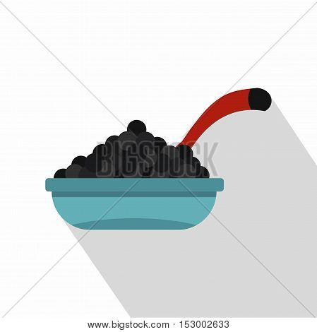 Bowl of caviar with spoon icon. Flat illustration of caviar vector icon for web design