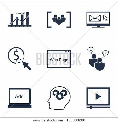 Set Of Seo Icons On Newsletter, Questionnaire And Digital Media Topics. Editable Vector Illustration