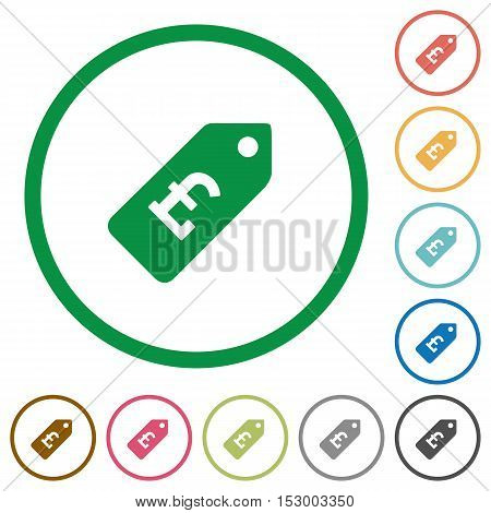 Pound price label flat color icons in round outlines