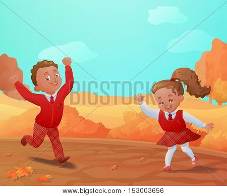 Autumn background with smiling kids.Pupis in unifirm banner.Vector illustration