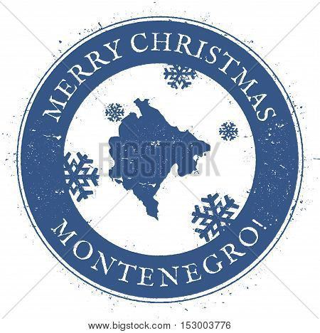 Montenegro Map. Vintage Merry Christmas Montenegro Stamp. Stylised Rubber Stamp With County Map And