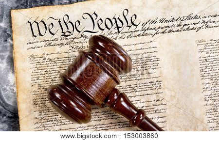 Bill of rights we the people with wooden gavel .