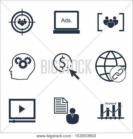 Set Of Advertising Icons On Brain Process, Connectivity And Keyword Optimisation Topics. Editable Ve