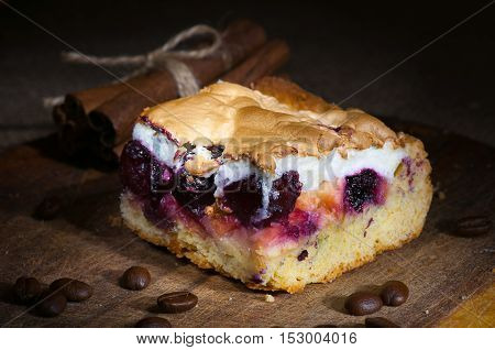 Homemade Cake With Whipped Egg Whites And Cherry Jam
