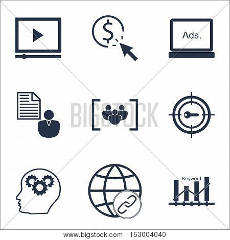 Set Of Seo Icons On Questionnaire, Brain Process And Connectivity Topics. Editable Vector Illustrati
