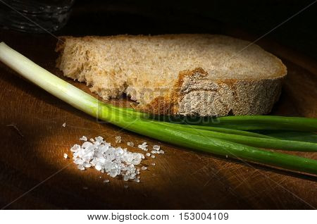 Rye Bread With Green Onion And Coarse Salt