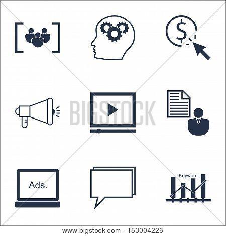 Set Of Advertising Icons On Brain Process, Digital Media And Ppc Topics. Editable Vector Illustratio