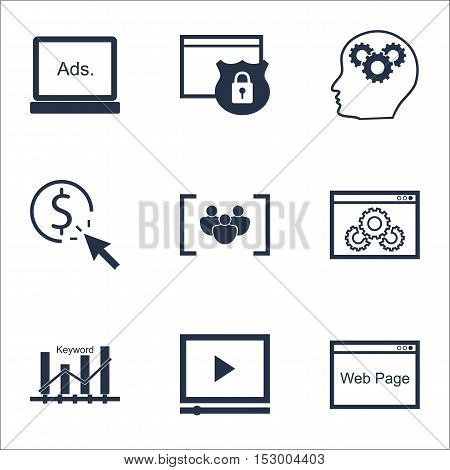 Set Of Advertising Icons On Website, Video Player And Brain Process Topics. Editable Vector Illustra