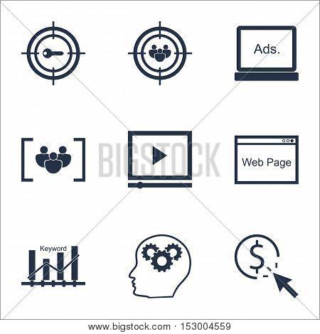 Set Of Seo Icons On Focus Group, Keyword Marketing And Website Topics. Editable Vector Illustration.