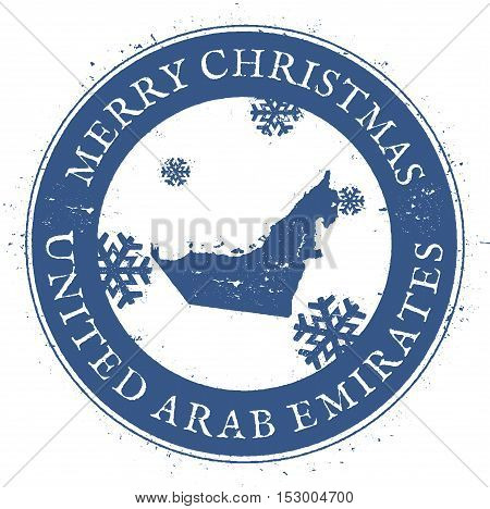United Arab Emirates Map. Vintage Merry Christmas United Arab Emirates Stamp. Stylised Rubber Stamp