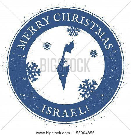 Israel Map. Vintage Merry Christmas Israel Stamp. Stylised Rubber Stamp With County Map And Merry Ch