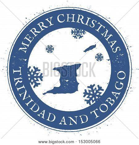 Trinidad And Tobago Map. Vintage Merry Christmas Trinidad And Tobago Stamp. Stylised Rubber Stamp Wi
