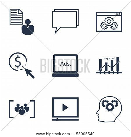 Set Of Marketing Icons On Keyword Optimisation, Ppc And Video Player Topics. Editable Vector Illustr