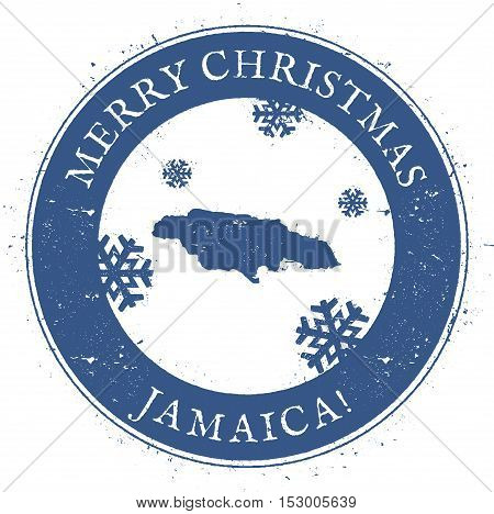 Jamaica Map. Vintage Merry Christmas Jamaica Stamp. Stylised Rubber Stamp With County Map And Merry