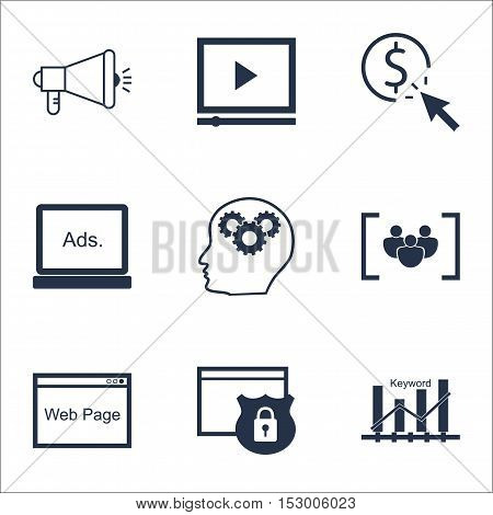Set Of Advertising Icons On Keyword Optimisation, Questionnaire And Ppc Topics. Editable Vector Illu