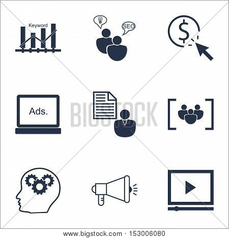 Set Of Marketing Icons On Video Player, Ppc And Report Topics. Editable Vector Illustration. Include