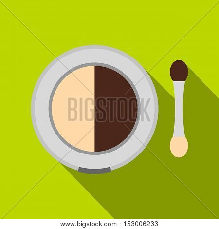Shadow palette with applicator icon. Flat illustration of shadow palette with applicator vector icon for web isolated on lime background