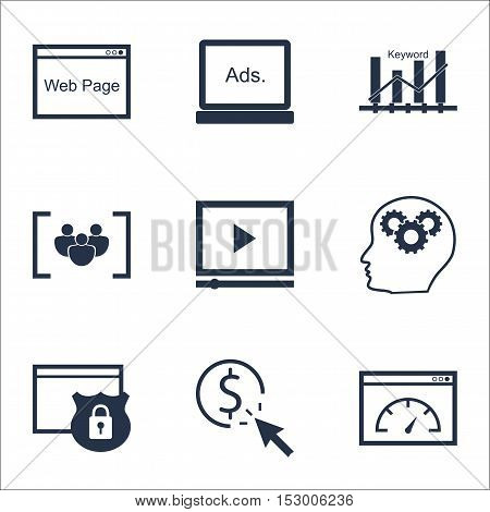 Set Of Marketing Icons On Ppc, Loading Speed And Brain Process Topics. Editable Vector Illustration.