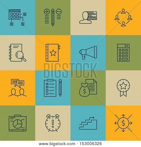 Set Of Project Management Icons On Investment, Discussion And Board Topics. Editable Vector Illustra