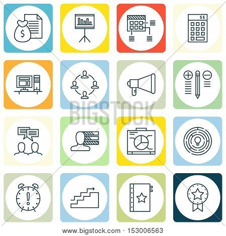 Set Of Project Management Icons On Present Badge, Report And Decision Making Topics. Editable Vector