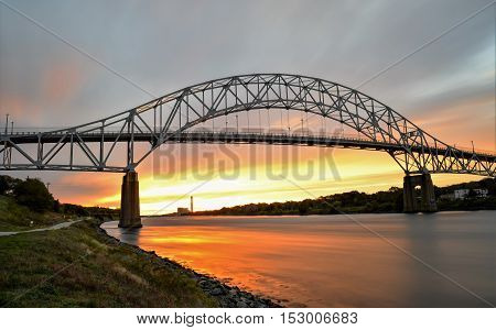 Early Morning Sunrise Picture of The Sagamore Bridge