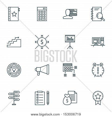 Set Of Project Management Icons On Opportunity, Report And Announcement Topics. Editable Vector Illu