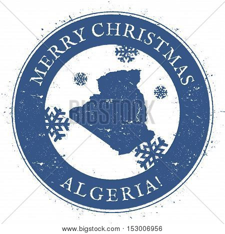 Algeria Map. Vintage Merry Christmas Algeria Stamp. Stylised Rubber Stamp With County Map And Merry