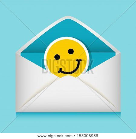 inside the blue envelope is greeting emoticon