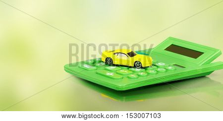 Yellow car and calculator.