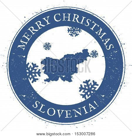 Slovenia Map. Vintage Merry Christmas Slovenia Stamp. Stylised Rubber Stamp With County Map And Merr