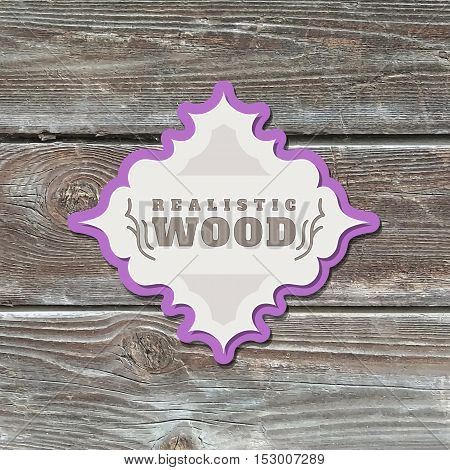 vector realistic wood texture with vintage paper frame