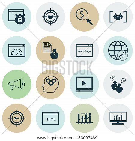 Set Of Marketing Icons On Market Research, Seo Brainstorm And Keyword Optimisation Topics. Editable