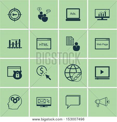 Set Of Marketing Icons On Connectivity, Coding And Digital Media Topics. Editable Vector Illustratio