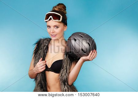 Woman Seductive Girl In Ski Googles Holds Helmet